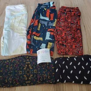 5 pair lot of Lularoe girls kids leggings  L / XL
